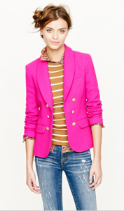 If you think the neon trend was just for summer, think again! This neon pink blazer can be found at Jcrew.com, $350